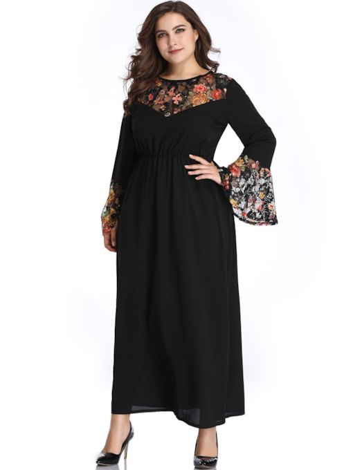 Plus Size Long Sleeve Round Neck Patchwork Women's Maxi Dress