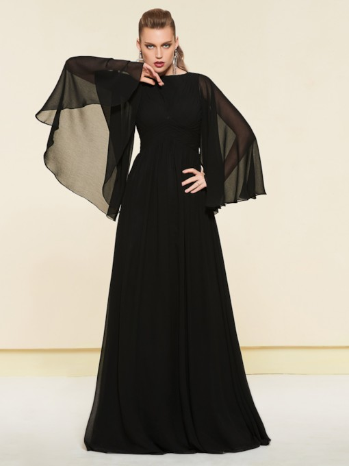 Bateau Floor-Length A-Line Pleats Evening Dress