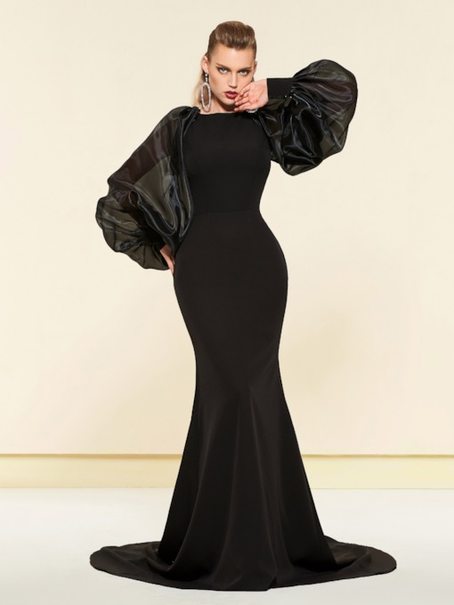 Long Sleeves Simple Black Mermaid Evening Dress 2019