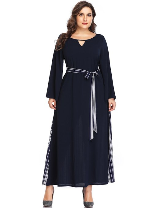 Plus Size Patchwork Long Sleeve Pullover Women's Maxi Dress
