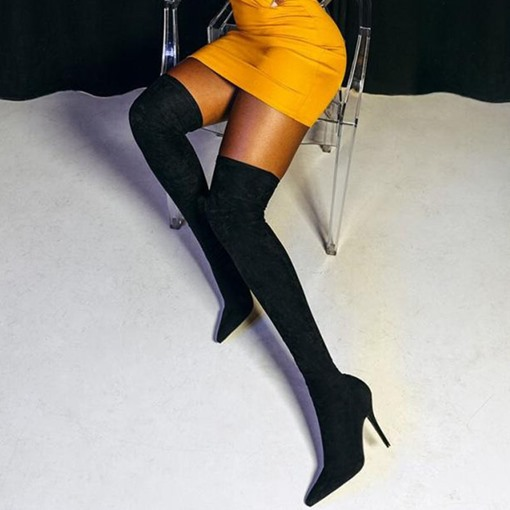 Stiletto Heel Slip-On Pointed Toe Plain Sexy Thigh High Boots