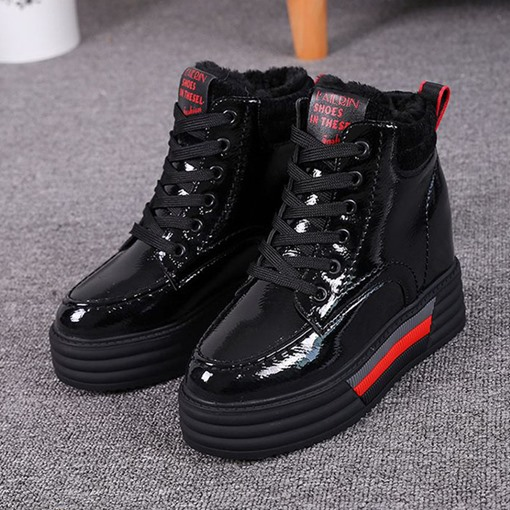 Lace-Up Front Plain Hollow Heel Round Toe Platform Ankle Boots