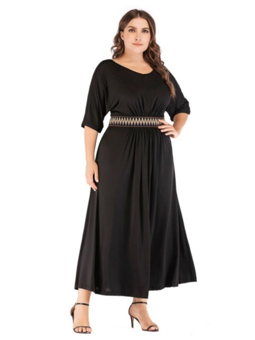 Plus Size Patchwork Half Sleeve Round Neck Women's Maxi Dress