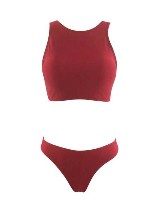 Solid Low Waist Bikini Set