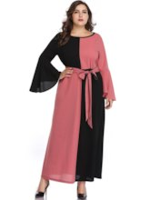 Round Neck Long Sleeve Ankle-Length Patchwork A-Line Women's Dress