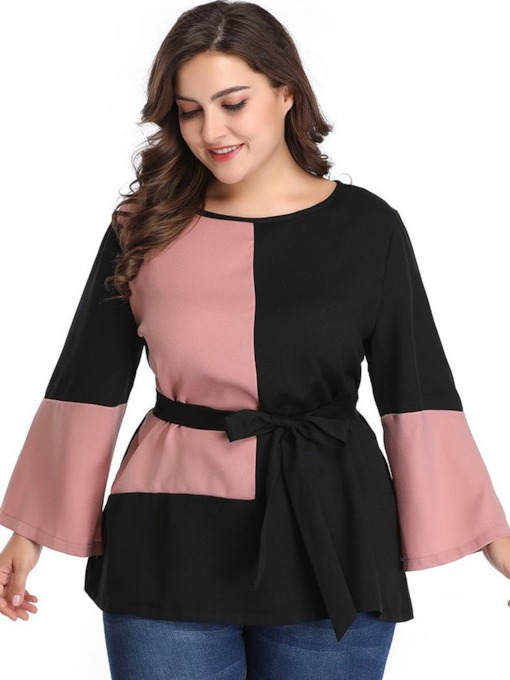 Color Block Flare Sleeve Plus Size Women's Blouse