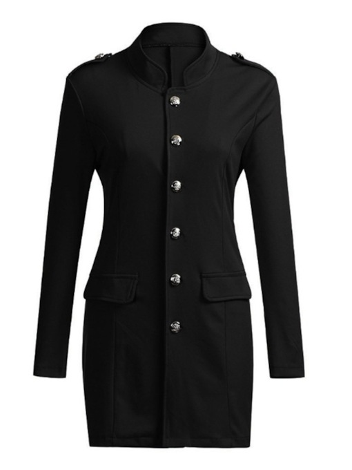 Plain Single-Breasted Stand Collar Women's Casual Blazer