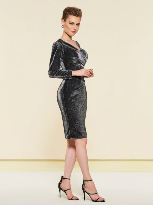 Knee-Length Long Sleeve Mother of the Bride Dress