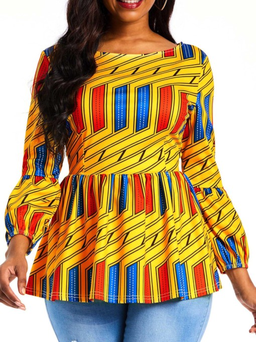 Color Block African Print Women's Blouse