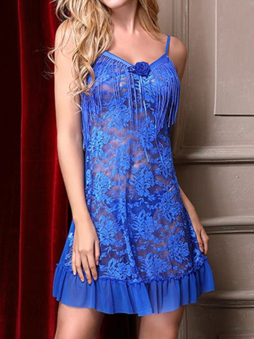 Floral Ruffles Tassel See-Through Babydoll