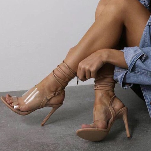 Strappy Lace-Up Stiletto Heel Open Toe Cross Strap Sexy Sandals