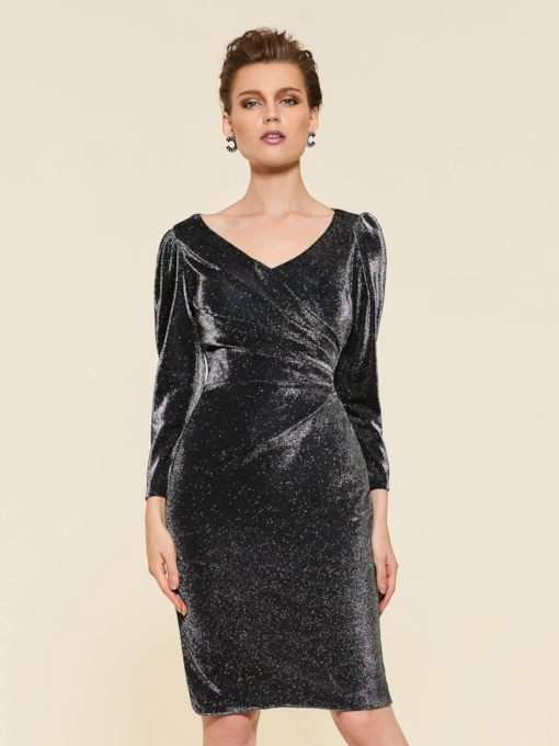 Knee-Length Column Long Sleeve Mother Dress