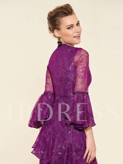 Knee-Length 3/4 Length Sleeves Lace Wedding Party Dress