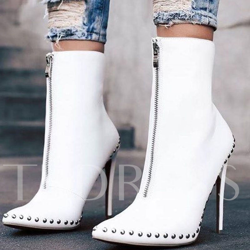 Plain Front Zipper Pointed Toe Stiletto Heel Ankle Boots