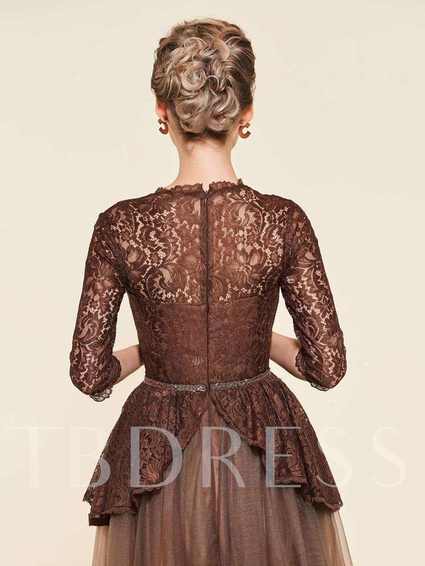 Half Sleeve Beading Lace Mother of the Bride Dress