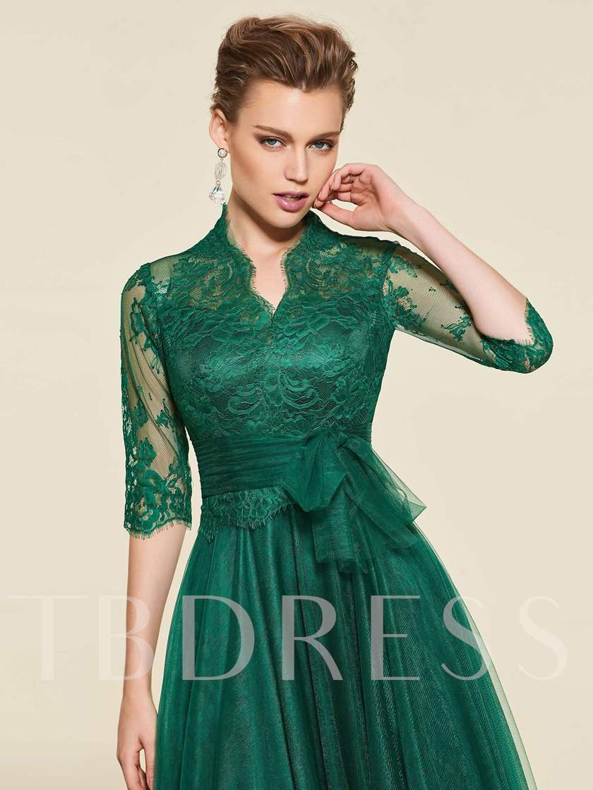 Bowknot Lace Half Sleeve Mother of the Bride Dress