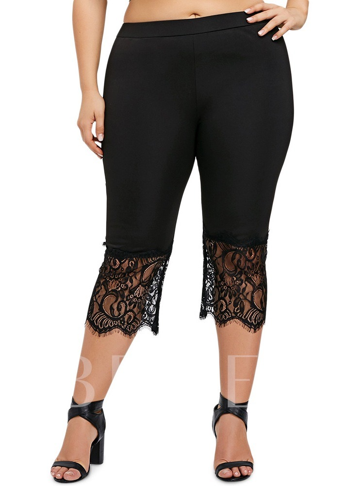 Lace Plain Casual High-Waist Women's Leggings