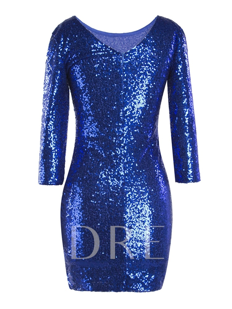 Round Neck Sequins Long Sleeve Pullover Women's Sheath Dress