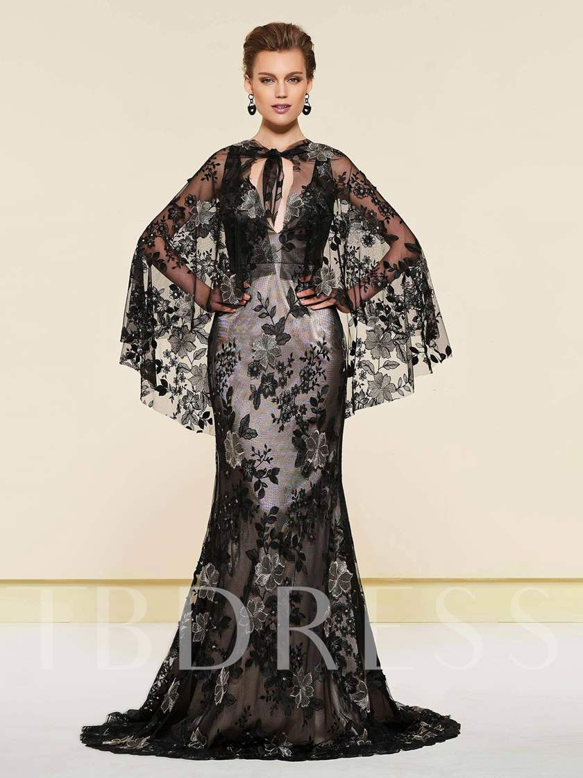Lace Mermaid Mother of the Bride Dress with Cape