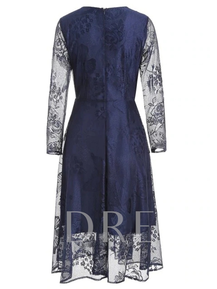 Patchwork Long Sleeve Round Neck Expansion Women's Lace Dress