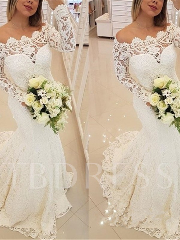 Off-The-Shoulder Long Sleeve Lace Wedding Dress