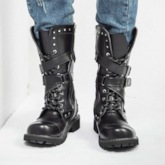 Round Toe Rivet Side Zipper PU Mid-Calf Motorcycle Boots for Men
