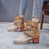 Round Toe Chunky Heel Side Zipper Buckle Patchwork PU Ankle Boots