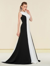 Beading Jewel Neck Contrast Color Evening Dress