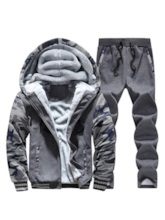 Fleece Lining Jacket & Pants Casual Men's Outfit