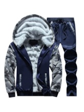 Jacket & Pants Fleece Lining Camouflage Men's Outfit