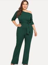 Full Length Plain Lace-Up Date Night High-Waist Women's Jumpsuits