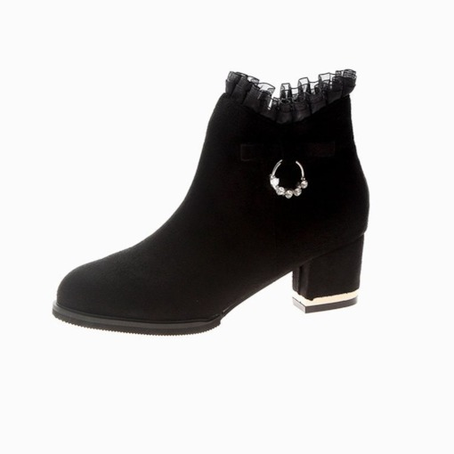 Side Zipper Chunky Heel Round Toe Rhinestone Fashion Ankle Boots