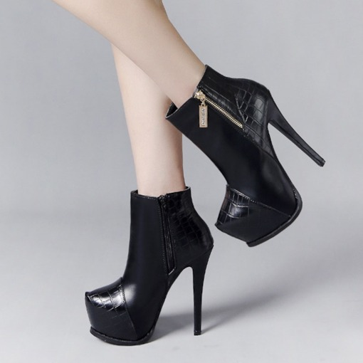 Stiletto Heel Round Toe Side Zipper Plain Platform Ankle Boots
