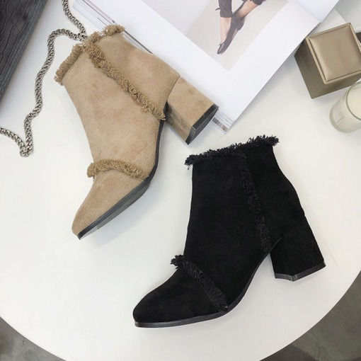 Side Zipper Plain Square Toe Chunky Heel Purfle Ankle Boots