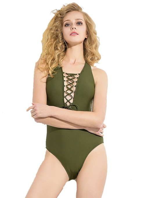 Lace-Up Plain Tankini Set Western Women's Swimwear