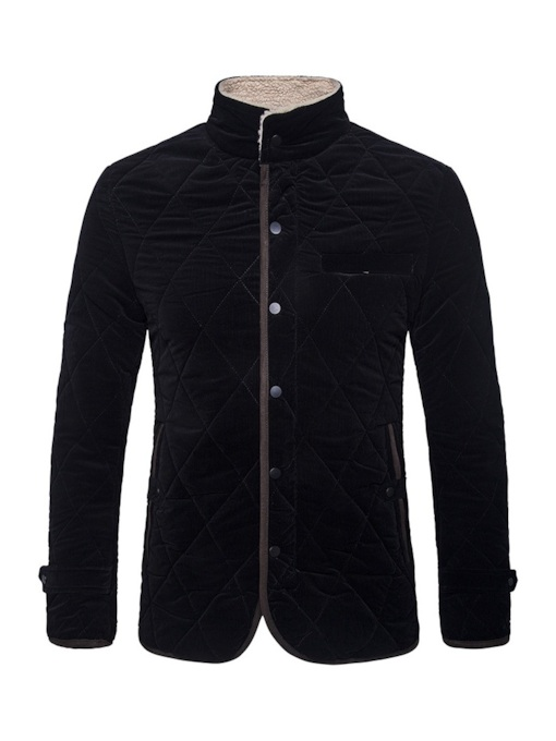 Stand Collar Fleece Lining Men's Jacket