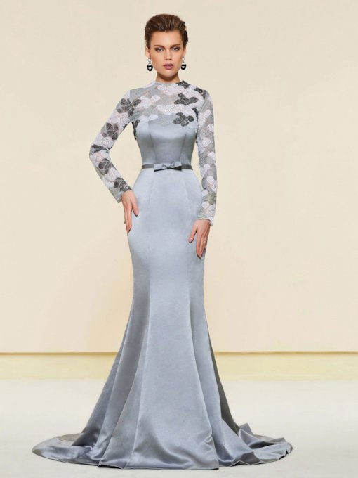 Mermaid Long Sleeve Evening Dress with Jacket