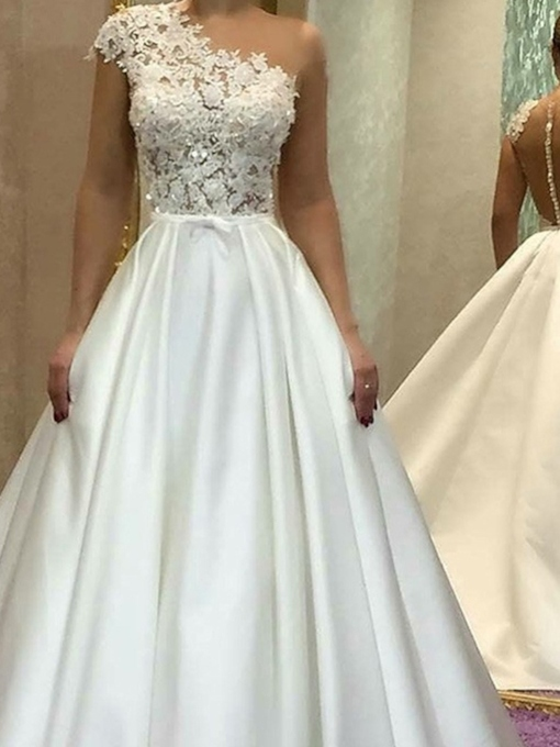 Cap Sleeves Button Lace Wedding Dress 2019
