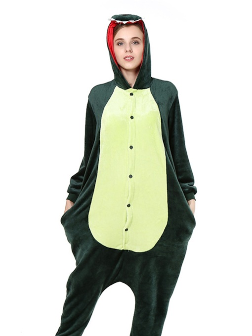 Velvet Green Dinosaur Cartoon Animal Pajama One-Piece
