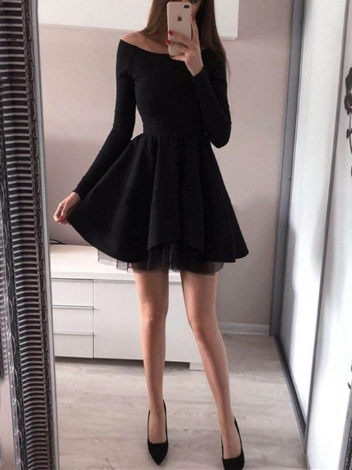 Long Sleeves Off-The-Shoulder A-Line Short Cocktail Dress
