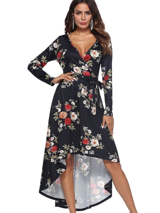Print V-Neck Long Sleeve Women's Long Sleeve Dress
