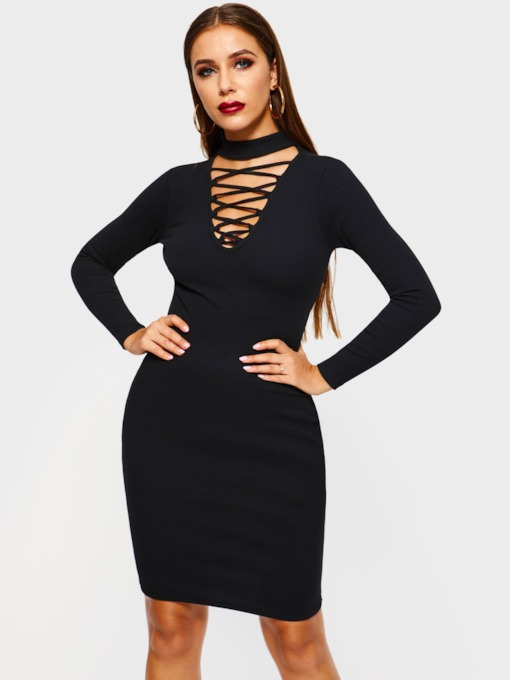 Long Sleeve Casual Plain Women's Bodycon Dress