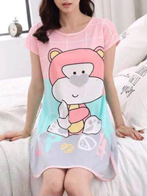 Single Cartoon Above Knee Women's Nightgown