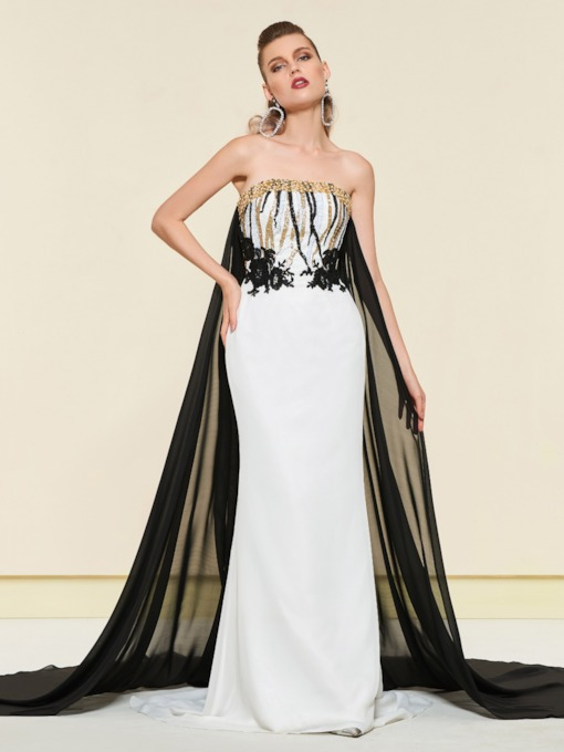 Floor-Length Strapless Sheath Sequins Evening Dress