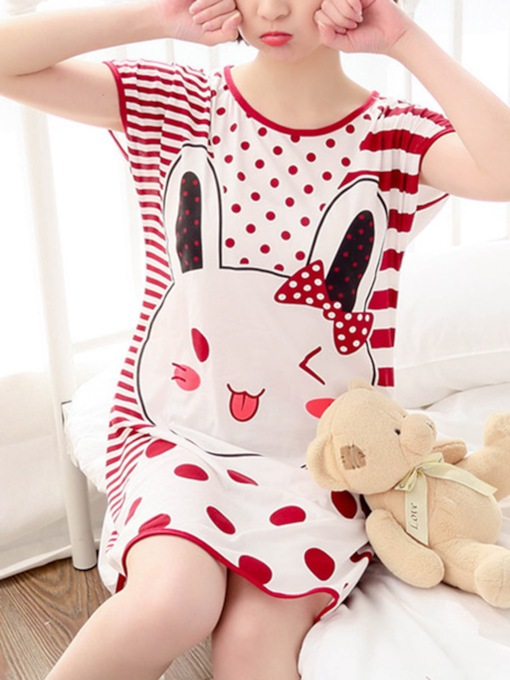 Cartoon Printed Sleepwear Girls Short Sleeve Women's Nightgown