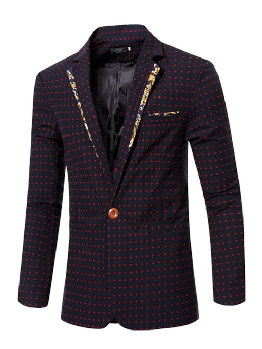 Patchwork Casual Polka Dots Notched Lapel Men's Blazer