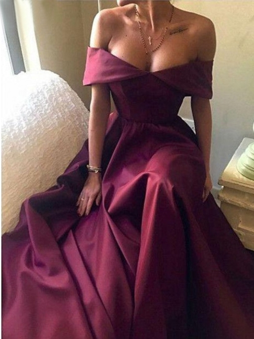 Off-The-Shoulder Short Sleeves Floor-Length A-Line Evening Dress