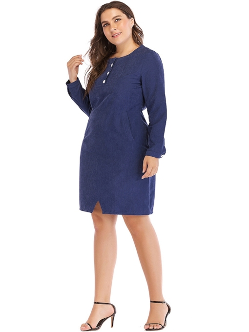 Plus Size Round Neck Split Pullover Women's Long Sleeve Dress