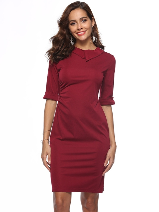 Elegant Half Sleeve Bodycon Women's Sheath Dress