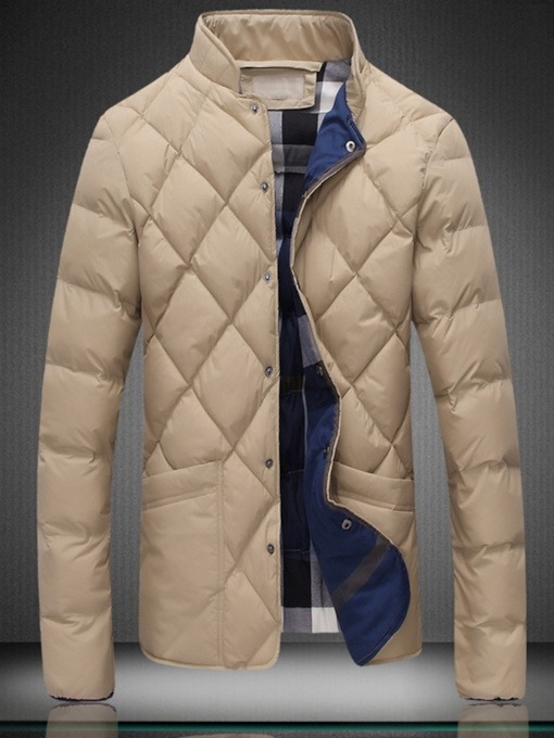 Plain Stand Collar Zipper Men's Down Jacket
